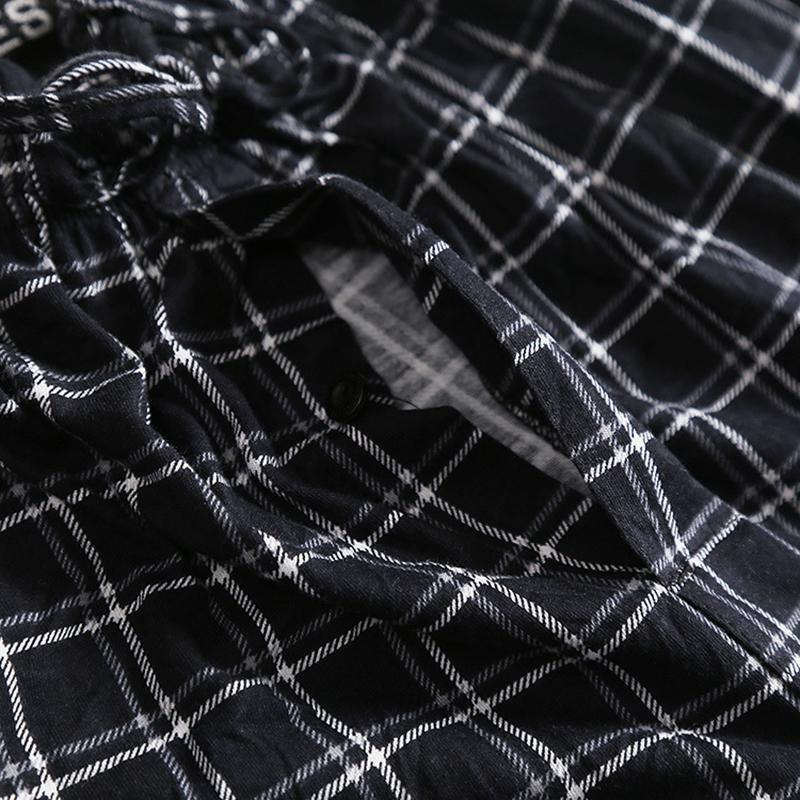 New man's pajama pants with placket lattice home wear long pants cotton relaxed comfortable sleepwear pajama trousers man