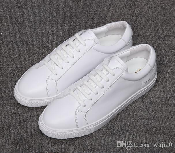 066240f58ba5 Common Projects By Women Black White Low Top Shoes Men Women Genuine  Leather Casual Shoes Flats Chaussure Femme Homme Boat Shoes Shoes For Men  From Wujia0