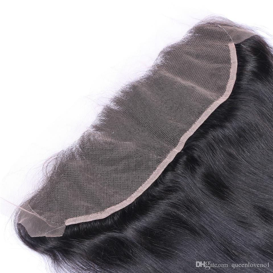 브라질 스트레이트 인간의 버진 헤어 짜기 3BLEDLES 레이스 정면 13x4 귀에 귀에 레이스 정면 이중 위사 자연 검은 머리카락