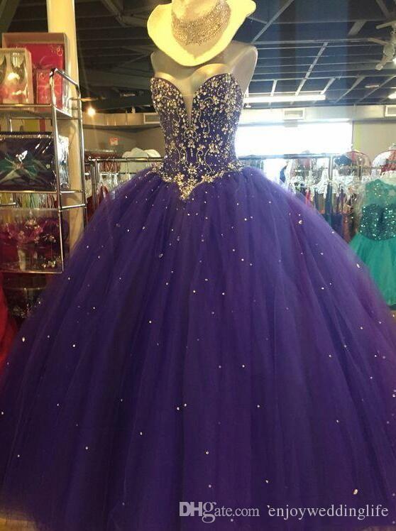 Uva bola vestido de tule quinceanera vestidos 2018 strapless cristal frisado a linha até o chão espartilho volta doce 16 vestidos de baile