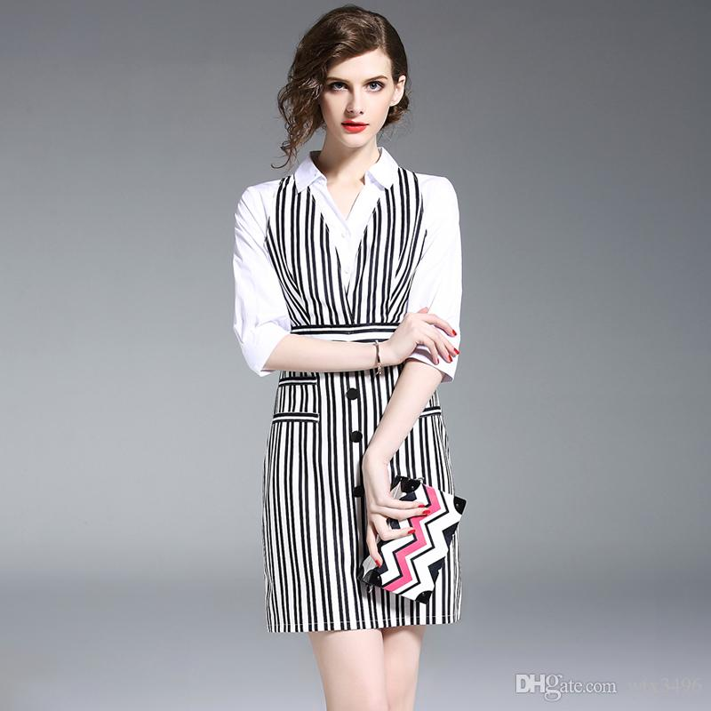 New Women s Fashion Black Striped Cotton Shirt Dress Turn Down Collar White  Half Sleeve Patchworked One Piece Dress Slim Work Dresses Women s Spring  Dress ... 963cf021c6d8