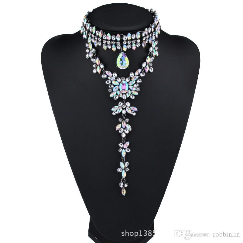 Gorgeous Choker Pendant Necklace for Women with Pretty Crystal Beads Costume Jewelry for Wedding Dress