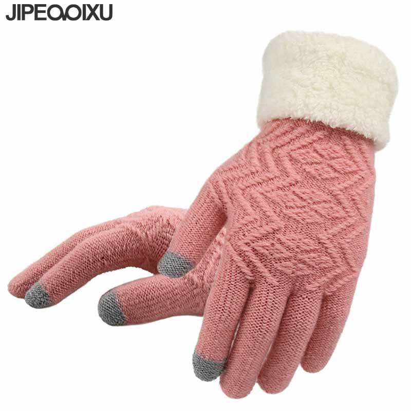 cec46c252 2019 Knitted Gloves Women Thicken Winter Warm Glove Female Touch Screen Full  Finger Soft Stretch Knit Pink Black Mittens Guantes From Winwin2013, ...