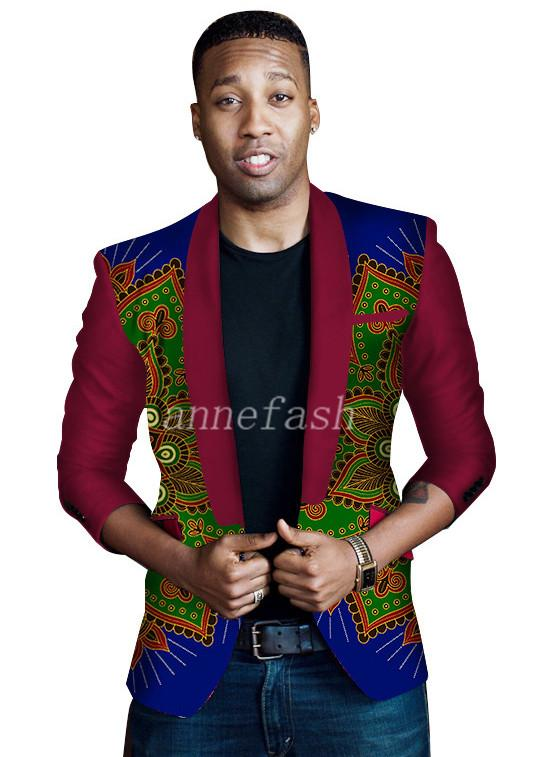 2017 new national style African leisure suit real cotton batik printing fabric men one botton suit Mens casual blazer