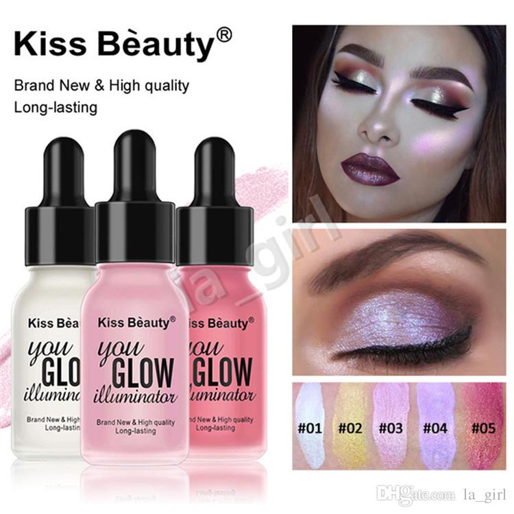 KISS BEAUTY Liquid Highlighter Glow Brighten Shimmer Makeup Glitter Face Glow Cream Spot Concealer for Women