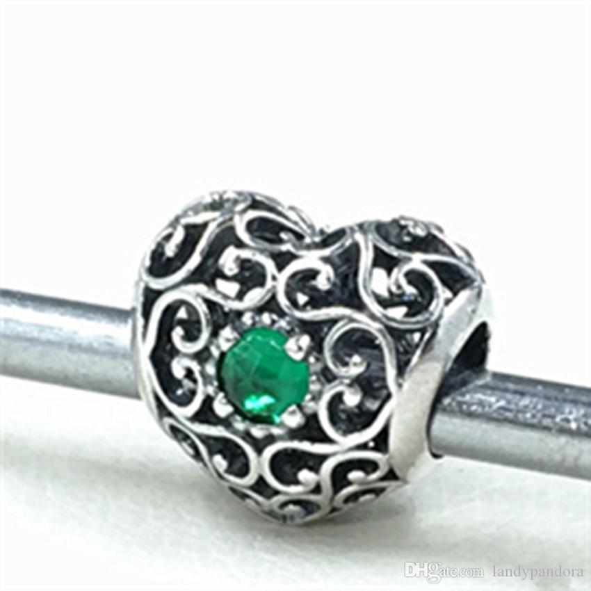 S925 Plata de ley Firma de enero Charm Heart Bead con granate Se adapta a las joyas europeas de Pandora Pulseras Collares Colgante