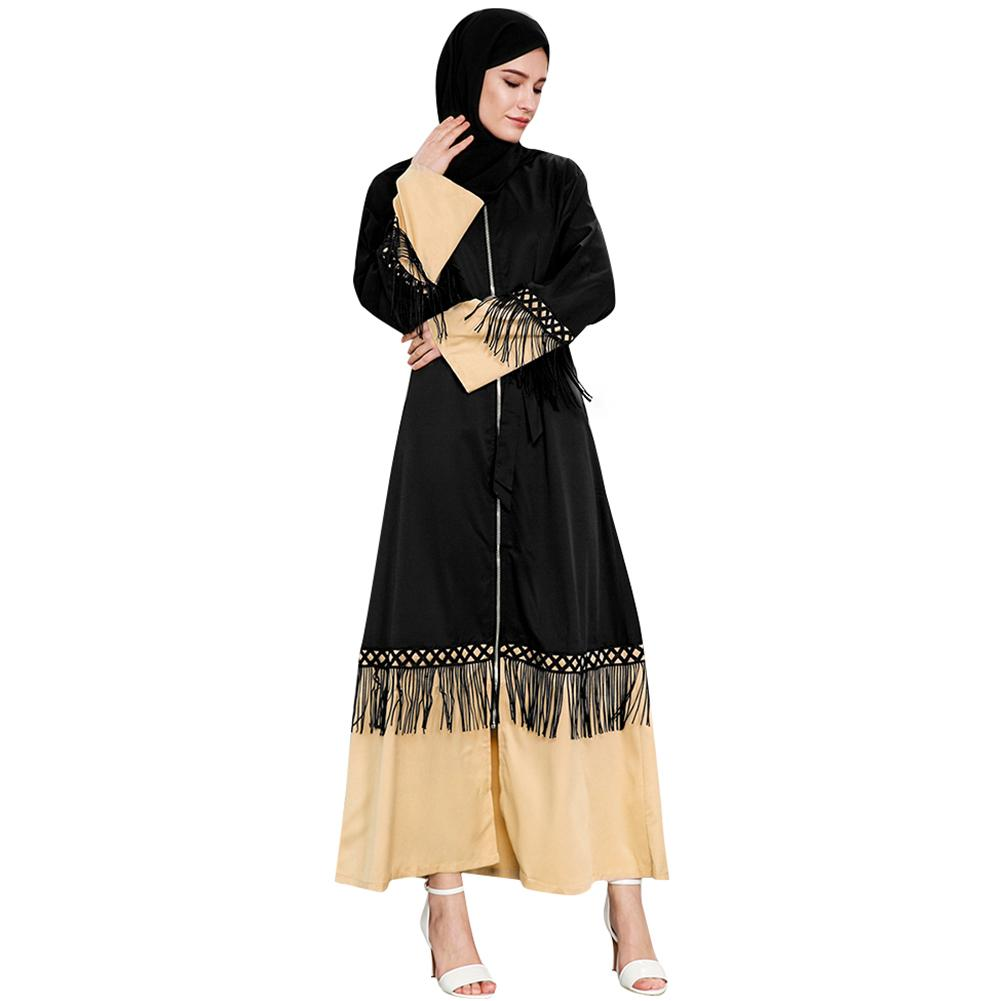 f9bb95cbc54e8 Vintage Girls Abaya Islamica Women Muslim Robe Fringing Long Sleeves Zipper  Front Robe Islam Long Loose Middle Easy Abaya Dress