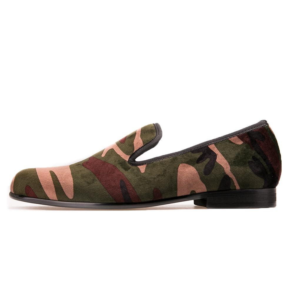 Men loafers Handmade men army green camouflage loafers Man military style casual shoes fashion party smoking slippers
