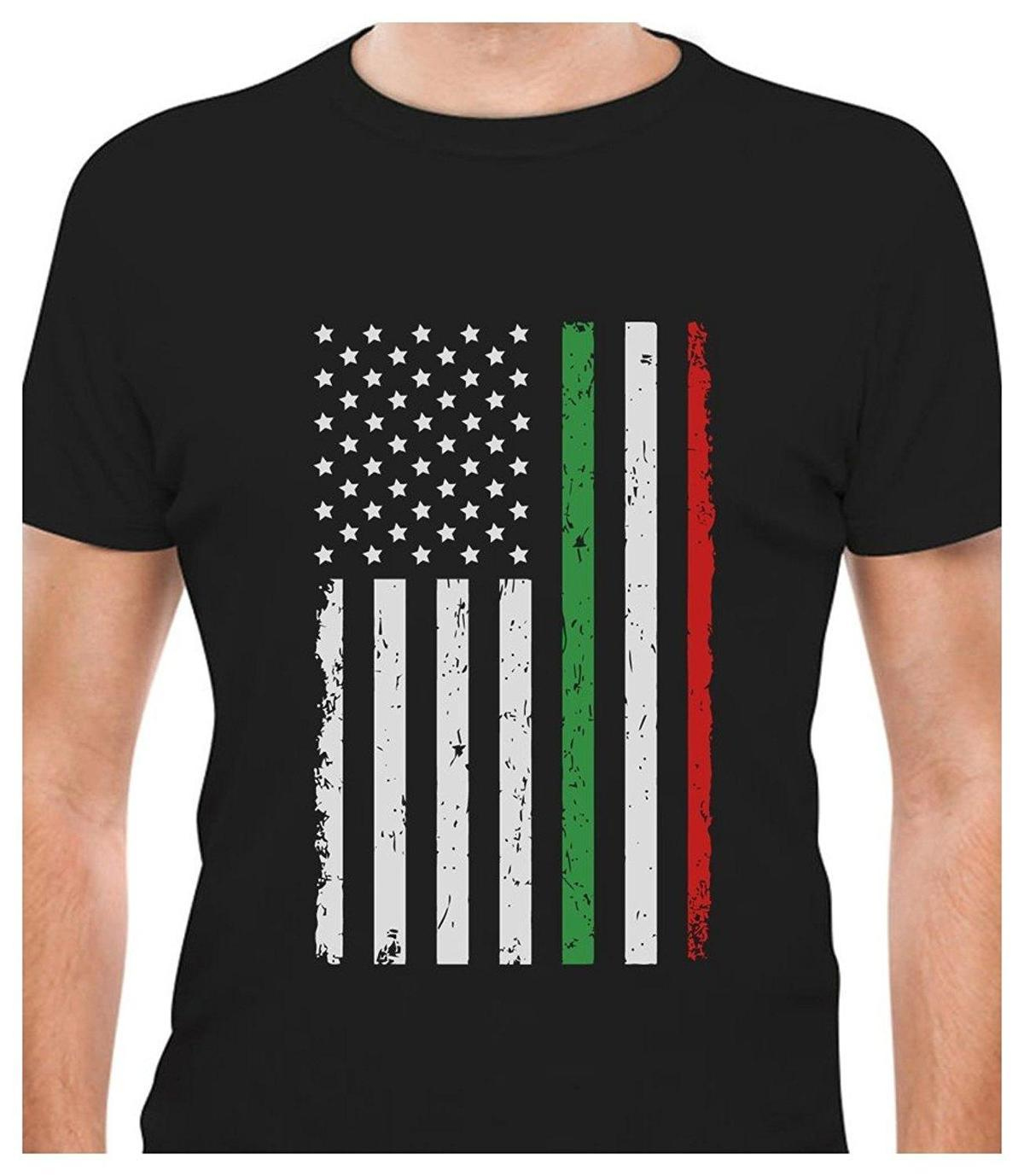 Printed Tee Shirt Design Big Distressed Italian American Flag Italy