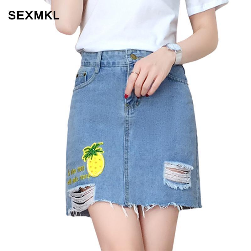 new product 74e08 b6c30 SEXMKL 2018 gonne di jeans delle donne moda casual autunno vita alta jupe  coreano gonna corta femminile matita Saia Jeans Mini gonna