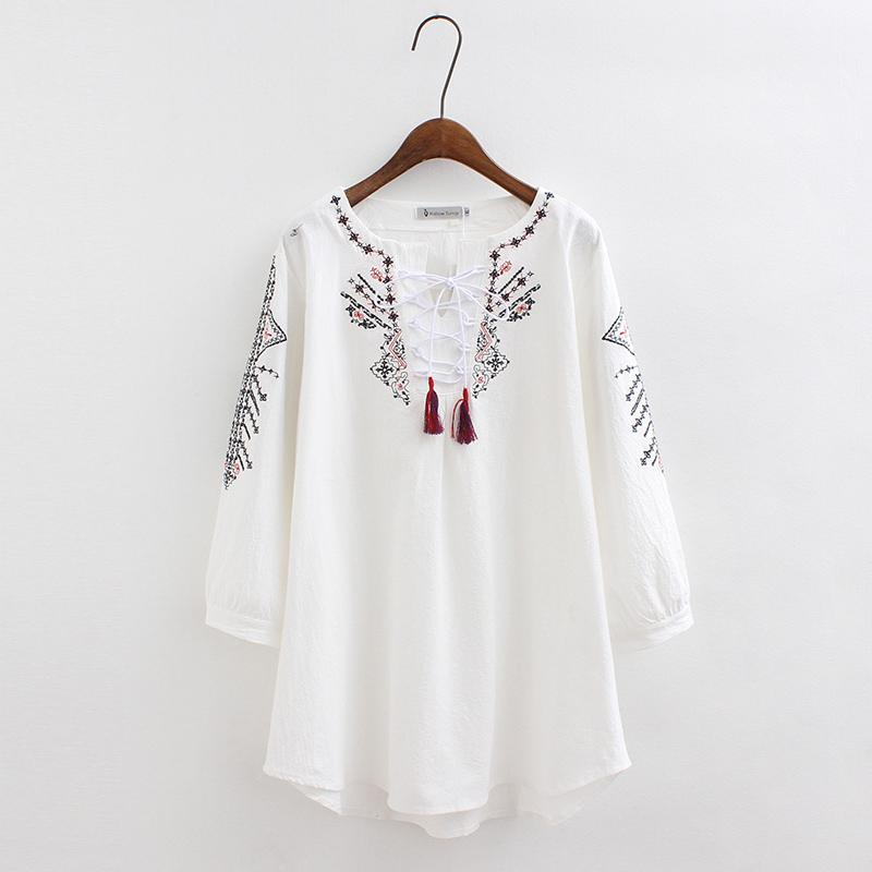 2019 Embroidery White Blouse Women Cotton Linen Tunic Tops Beach