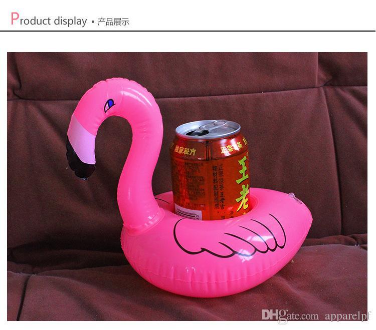 Cuscino ad acqua gonfiabile con sedile a tazza fenicotteri, portabicchieri galleggiante bevande, produttore all'ingrosso, fornito di giocattoli gonfiabili e swimmin