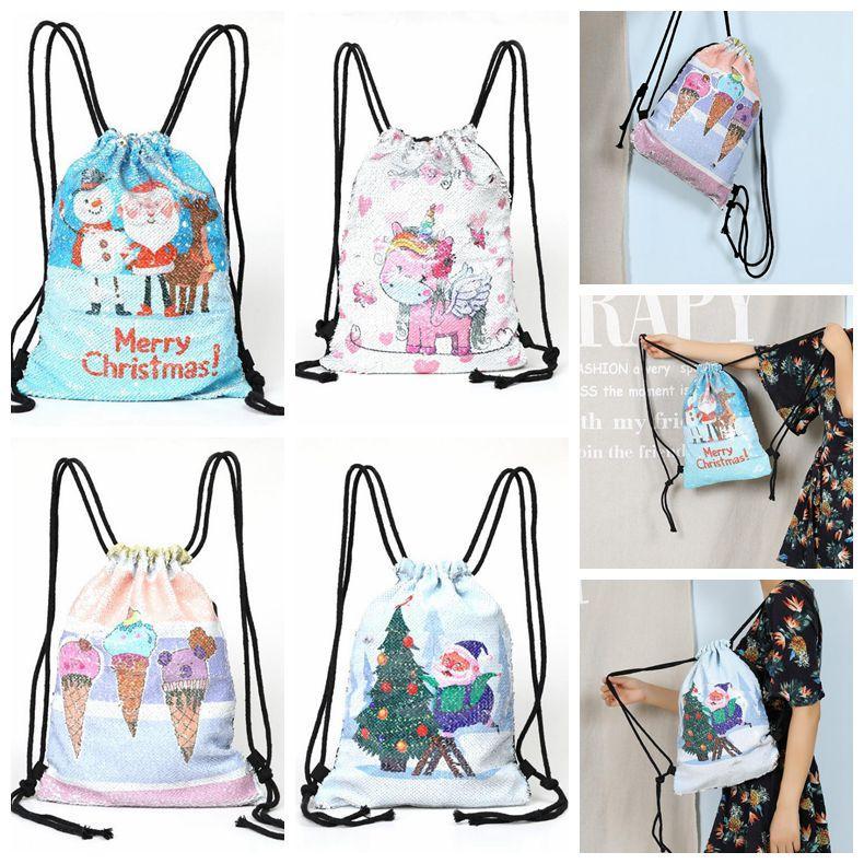 69aa78eb6c58 4 Styles Sequins Christmas Backpack Unicorn Sequin Drawstring Bag  Reversible Outdoor Backpack Sports Shoulder Bag Travel Bag CCA10586 10pcs