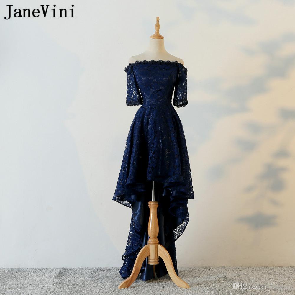 JaneVini Blu Navy High Low Prom Dresses in rilievo corto anteriore lungo posteriore Lace off spalla ragazze abiti da ballo partito di sera usura formale