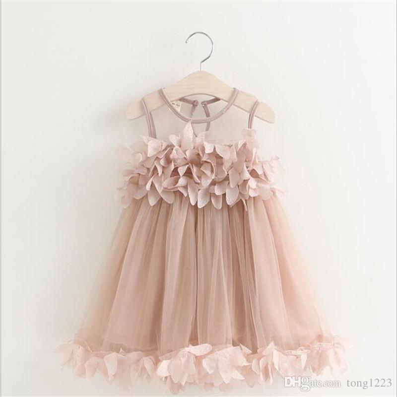 New Summer Mesh Girls Clothes Kids Girls Applique Princess Dress Children Summer Clothes Baby Girls Dress