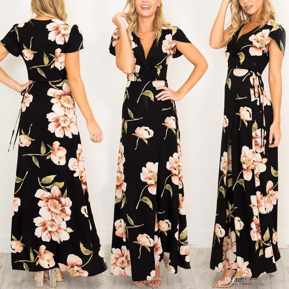40a7e24c1725 Women Boho Floral Print Long Maxi Dresses Summer Evening Party Cocktail  Dress Sexy Short Sleeve Beach Sundress Vestido Black Dress On Sale Party  Dress Gold ...