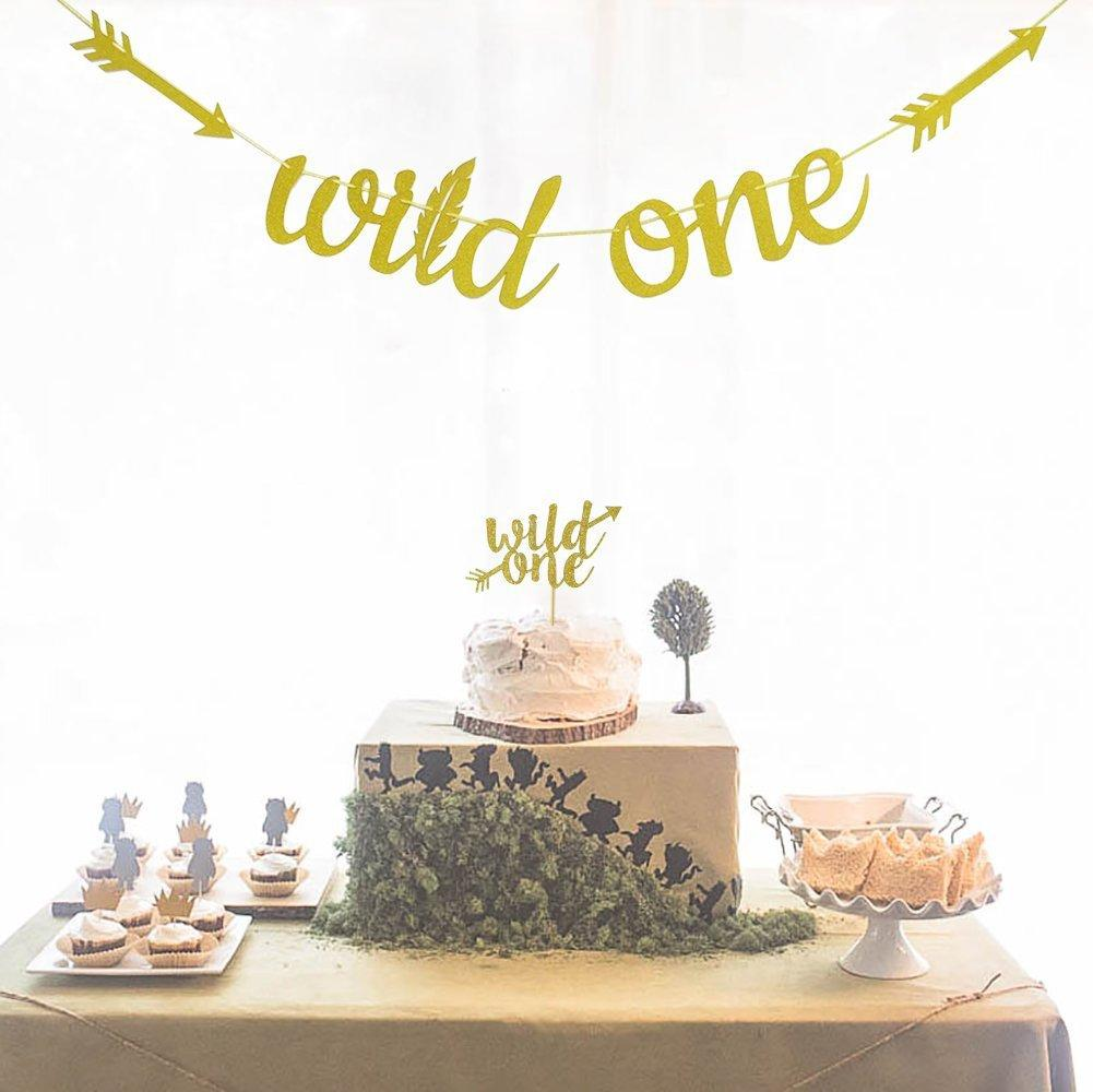 2019 1st Birthday Party Decoration Wild One Gold Glitter Cardboard Garland HAPPY BIRTHDAY Banner Cake Topper DIY From Zhoukougarden