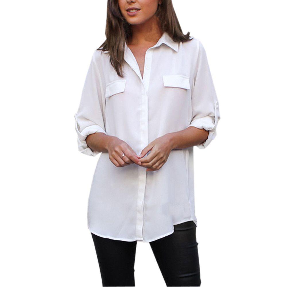 c30b533faa Compre Blusas Y Blusas Para Mujer 2018 Streetwear Bolsillos Camisa Larga De Manga  Larga Blanca Mujer Ropa Túnica Para Damas Top Feminina A  38.25 Del ...