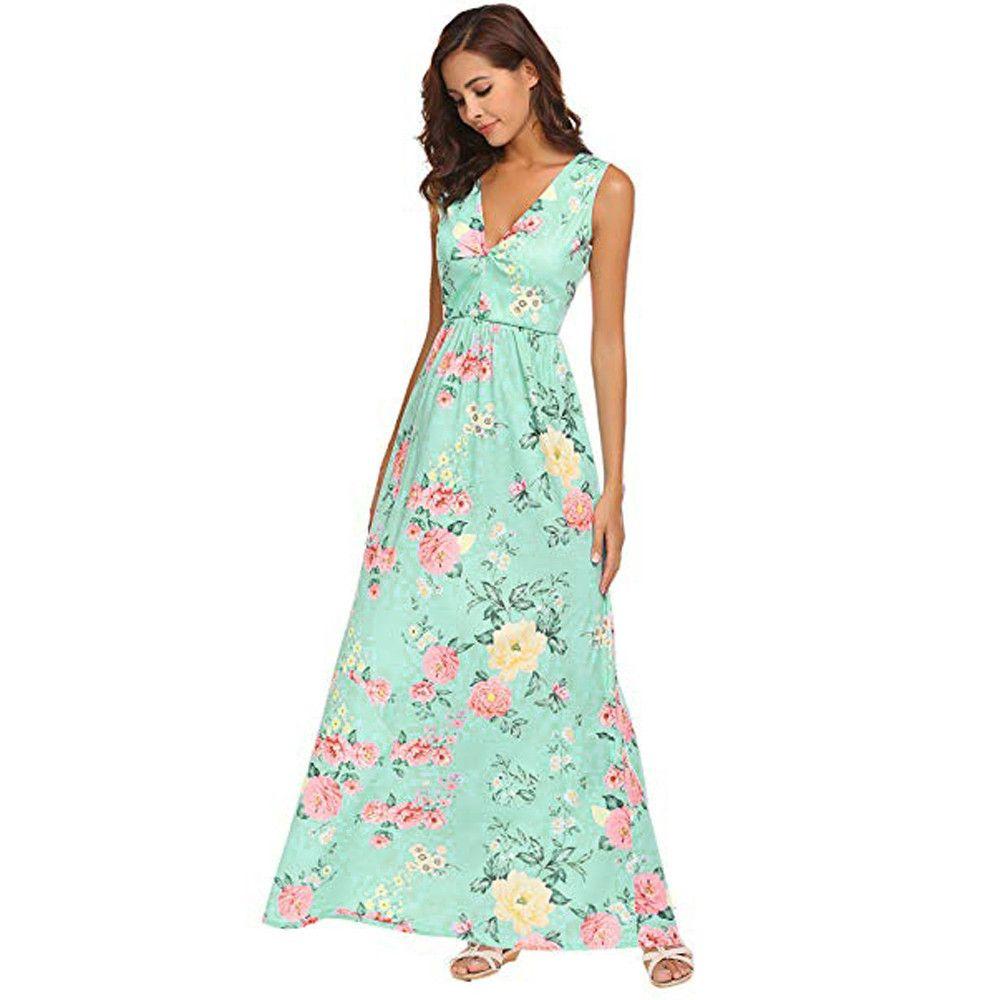 5da887cd3f8 Fashion Women Summer Floral Printed Dress Bohemian Style Elegant Ladies V  Neck Sleeveless Maxi Casual Dresses Vestiti Donna Green Dress Pink Dress  From ...