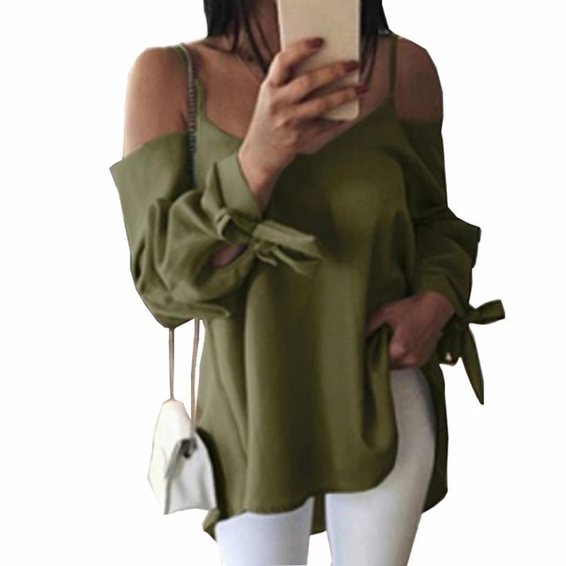 29186cdc0b33 Compre Outono Mulheres Manga Comprida Blusa Sólida Sexy Casual Com Decote  Em V Fora Do Ombro Plus Size Blusas Femininas Camisas Arco Blusas Soltas  GV852 De ...