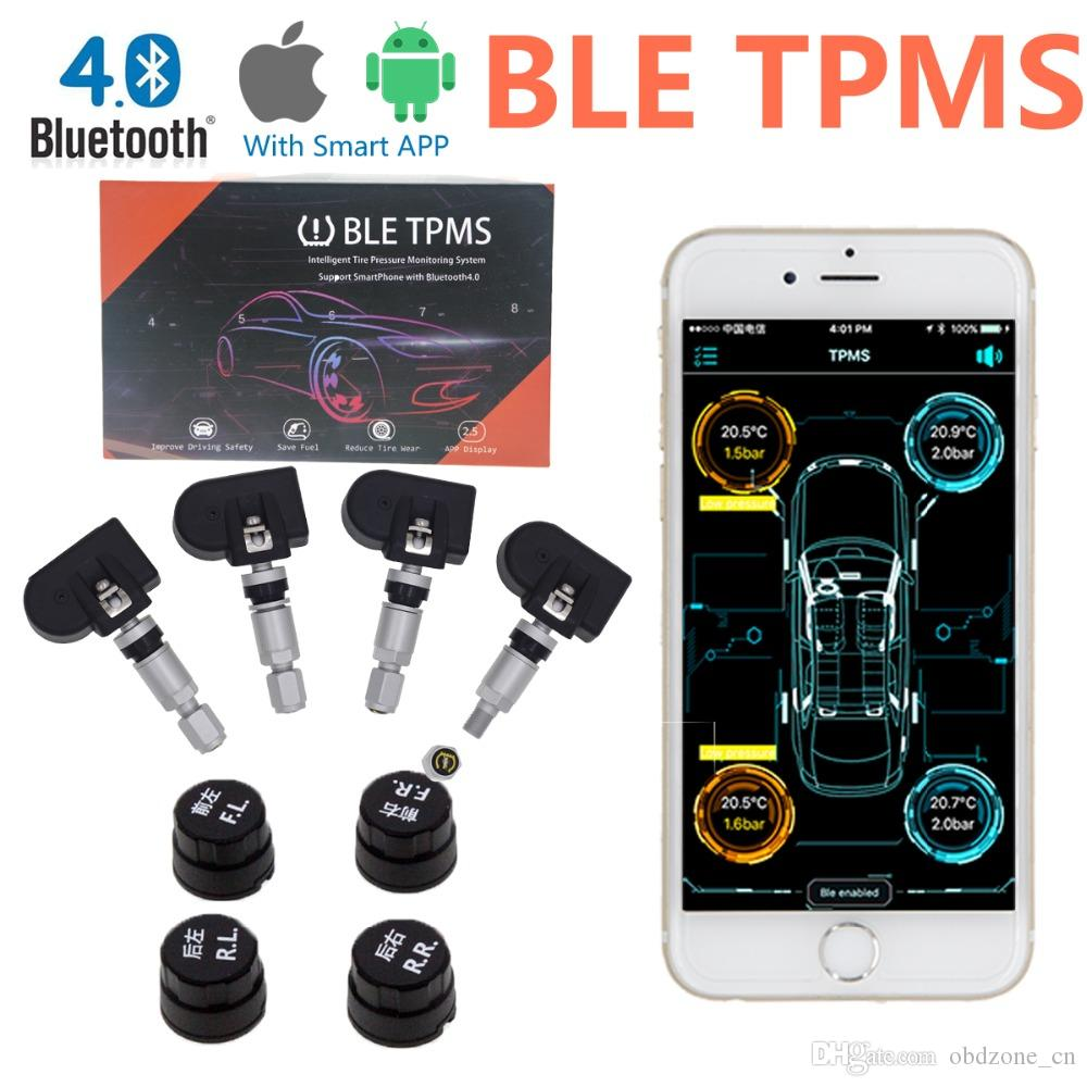 Smart BLE TPMS Bluetooth TPMS Car Tire Tyre Pressure Monitoring System for  iOS Android Phone App Display with 4 Sensors