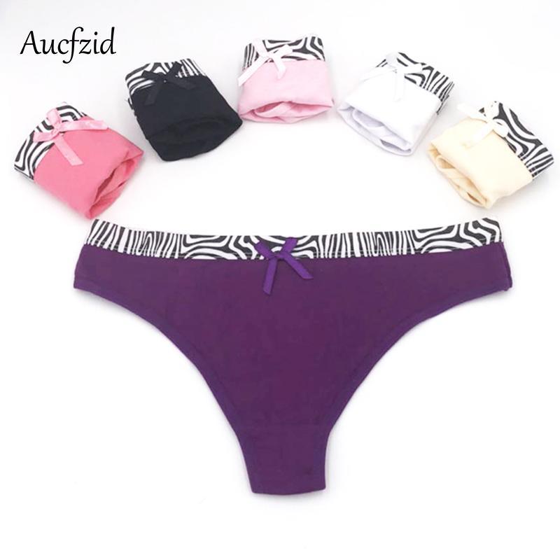 Compre Aucfzid 2018 Sexy Impressão Calcinhas De Algodão Mulheres Tangas E G  Cordas Cuecas Cuecas Femininas Sem Costura Lingerie De Mingmusic002 ed2a29cfd82