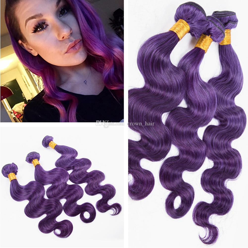 Brazilian Body Wave Human Hair Weft Extensions 100g Best Pure Purple