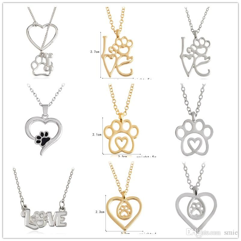 10styles Love Heart Dog Paws Foot Necklace Always In My Heart Pendant Dog Cat Animal Lovers Gifts