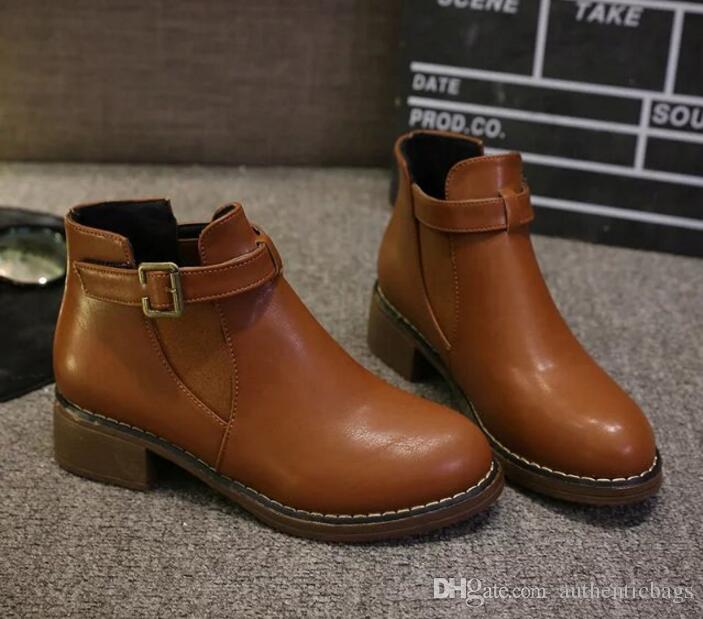 bccd771d839c Модные осенние зимние женские сапоги Твердые европейские женские ботинки ...
