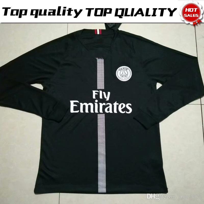 outlet store 46d89 79cb3 Long Sleeve New Logo PSG Black Soccer Jersey 18/19 Paris Saint-Germain #10  NEYMAR JR #7 MBAPPE #9 CAVANI Full Sleeve Soccer Shirt