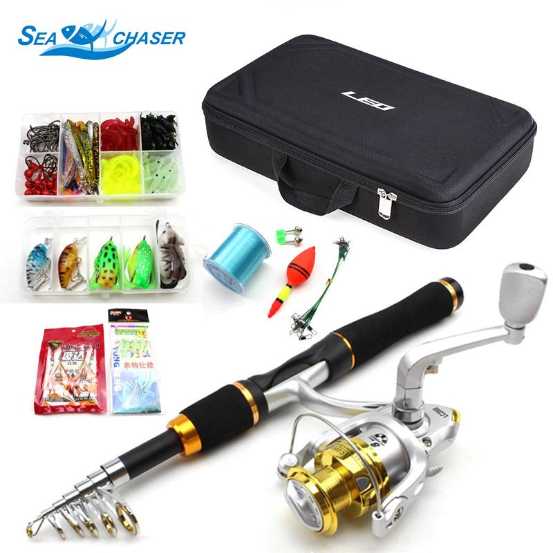 1.65M carbon Telescopic Fishing Rod and 9BB Reels Spinning Casting Rod a lot of Hook Lures Hard Fishing Bag Fishing Tackle Set