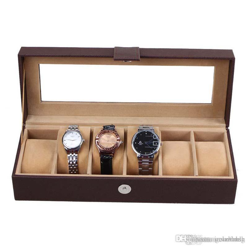 Black 6 Grid Watch Storage Box Glass Window Jewelry Wrist Watches Display  Collection Storage Box Case Leather Skmei Caja Reloj Hz10 Watch Cabinets  Cases ...