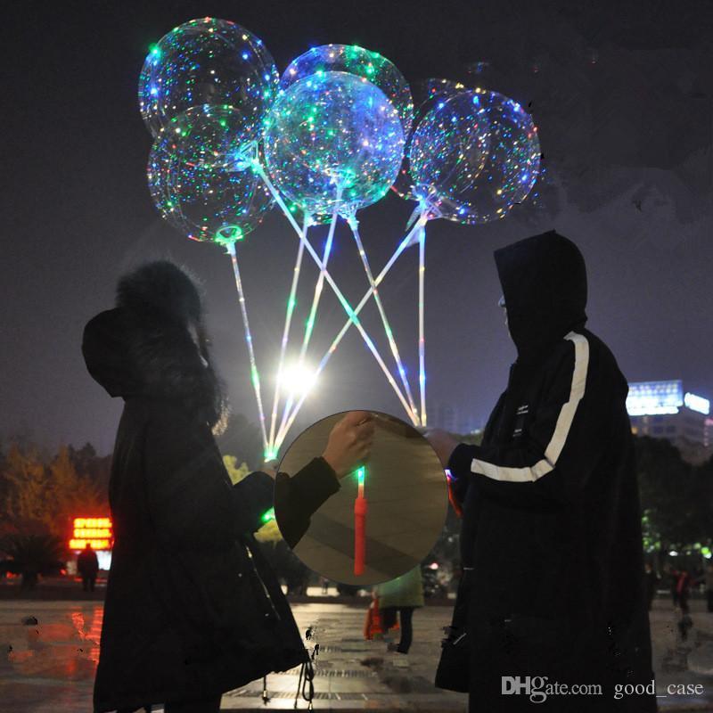 2018 mode bobo ballons mit griff led nachtlichter rund 18 zoll bobo ball transparent klar ballons stick für hochzeit urlaub verkauf heiß