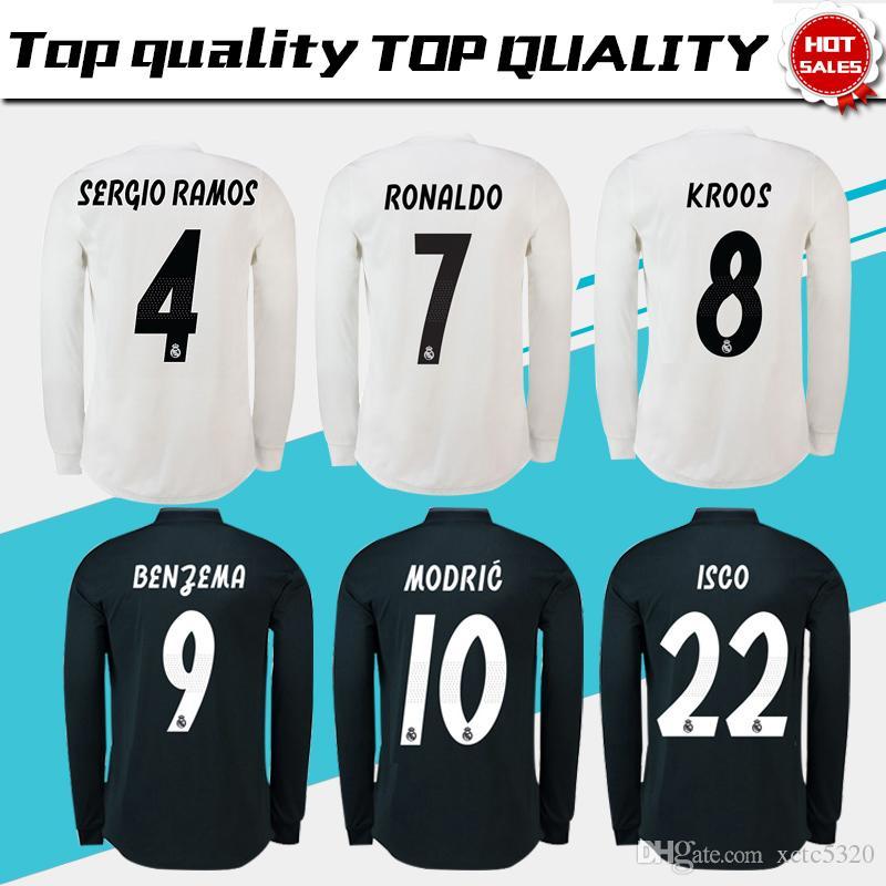 0b78dd1cc4 Camiseta De Fútbol Real Madrid De Manga Larga Completa 18/19 Camiseta De  Fútbol Real Madrid # 11 BALE # 22 Camiseta De Fútbol ISCO Tercera Roja  Talla S 3XL ...