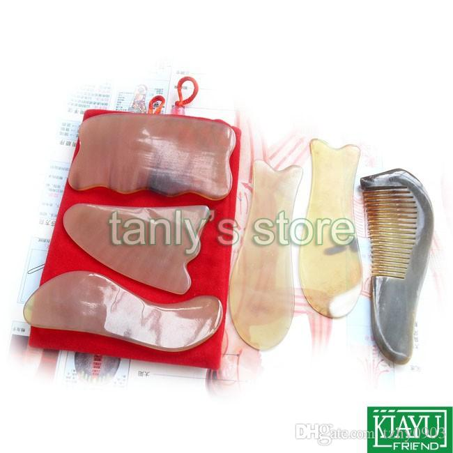 Good quality! Traditional Acupuncture Massage tool Guasha beauty board 100% yellow Ox Horn (gift bag & gua sha chart) 6pcs/set