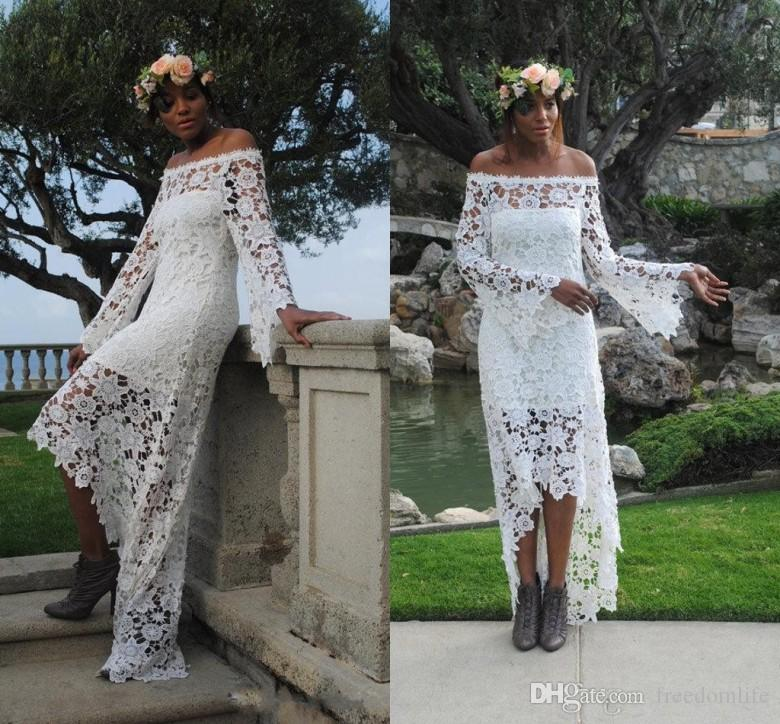 8c546a6f9bb6 Discount Hippie Style High Low Country Wedding Dresses Lace A Line Off  Shoulder Vintage Long Sleeve Bridal Gowns Cheap 2018 Wedding Dress Sexy  Wedding ...