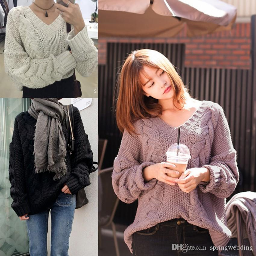 e024fa729 2019 Autumn And Winter V Neck Twist Sweater Purple Women Pullovers Loose Knit  Jumper Long Sleeve Casual Solid Sweater Pull Femme Tops FS5789 From ...