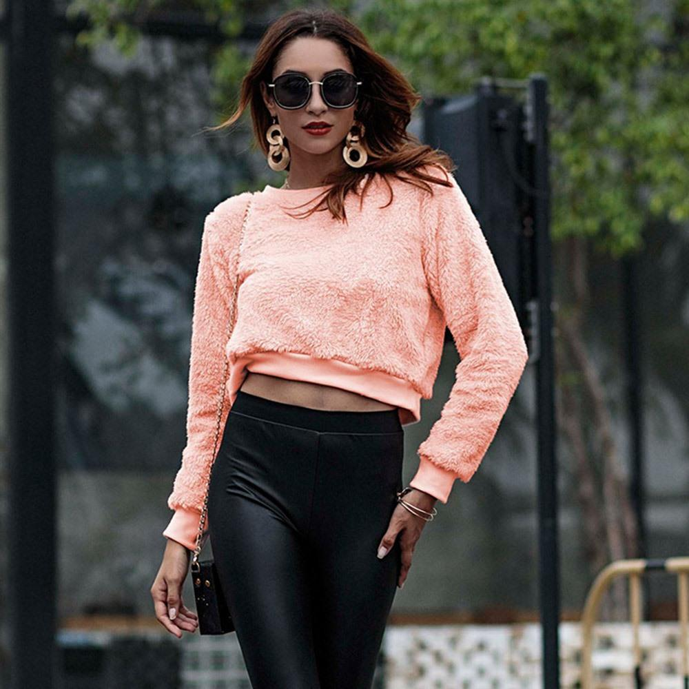 f02ee915cdc Compre 2018 Fall Sweet Boho Office Lady Casual Mujer Sudaderas Loose  Pullover Plain Moda Femenina Elegante Rosa Corto Hoodies A  36.27 Del  Clothesb911 ...