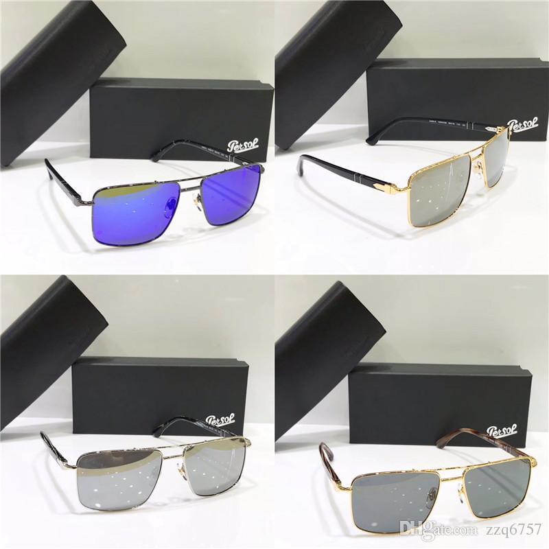 cdda8603db Compre Nuevo Persol Sungasses PE 5 Modelo Clásico Metal Marco Cuadrado  Diseño Lente De Cristal Hombres De Calidad Superior Gafas De Sol De  Diseñador Con ...