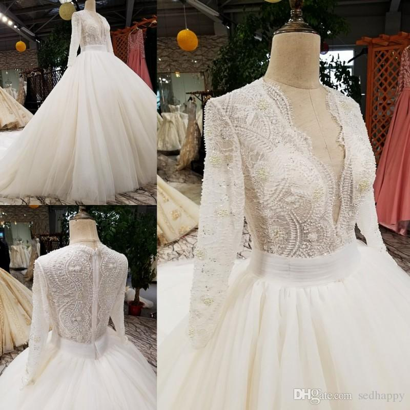 Wedding Dresses with Long Sleeves No Train