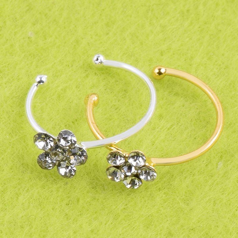 Hot femmes bijoux de mode anneau cristal fleurs charme anneau de nez bijoux de corps cadeau en gros de haute qualité