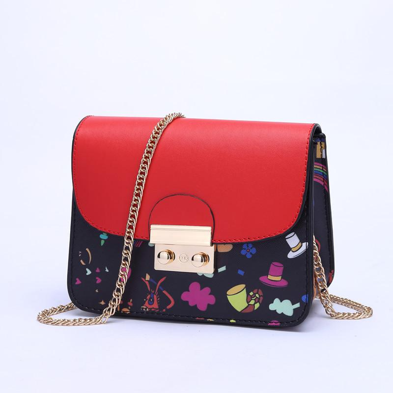 0fa91344d2 Women PU Leather Small Chain Shoulder Bag 2018 Female New Printing Fashion  Chains Satchel Bag Bolsos Mujer Women Messenger Bags Hobo Bags Designer Bags  From ...