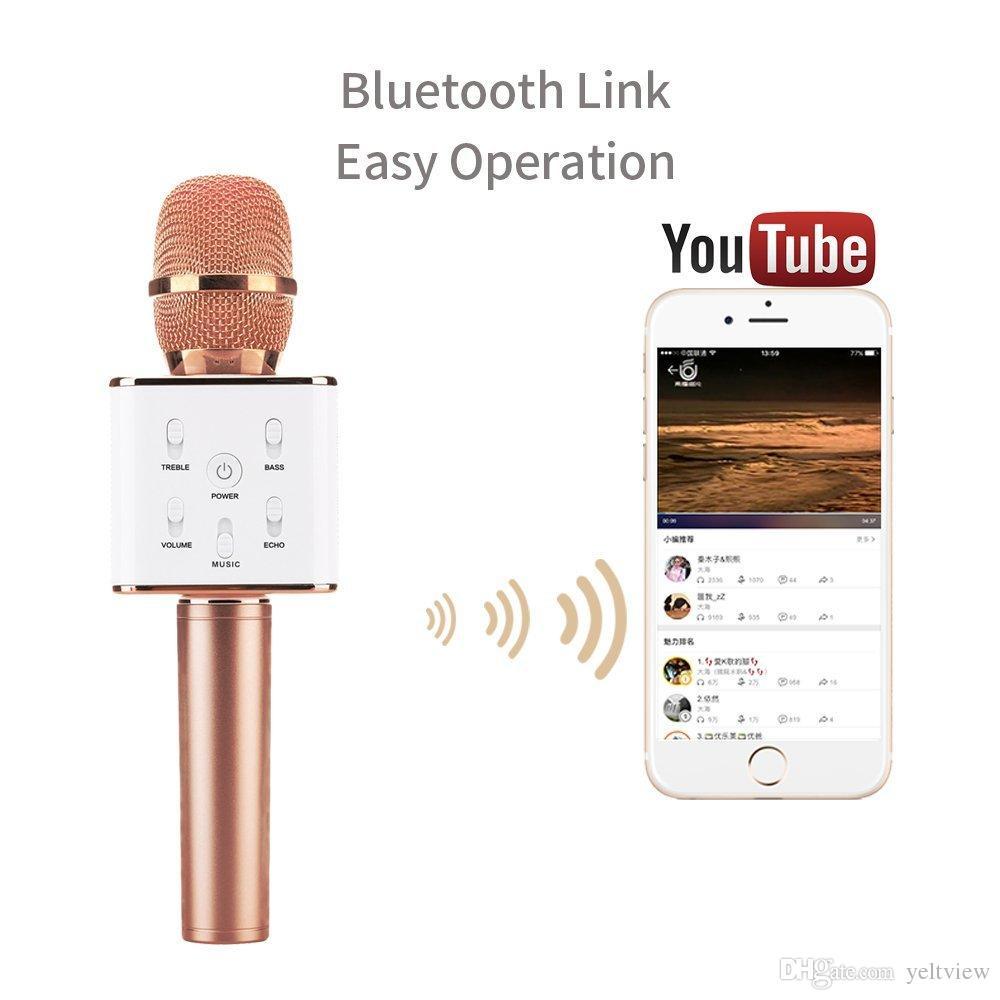 Q7 Altavoz Bluetooth Micrófono de mano Portátil Inalámbrico Reproductor de Karaoke KTV Mágico Con Altavoz MIC Para iPhone 7 Plus Samsung