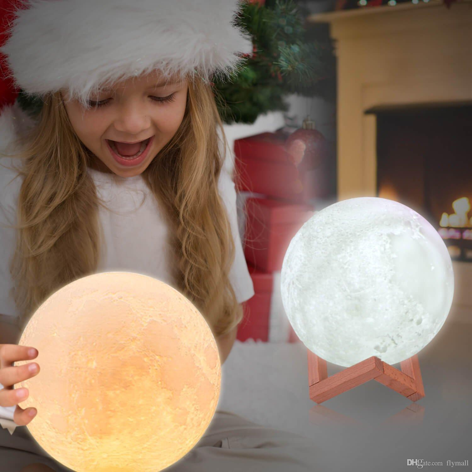 3D Print LED RGB Moon Light Lamp Valentines Gifts Decorative Lights Night Light with Remote&Touch Control USB Rechargeable