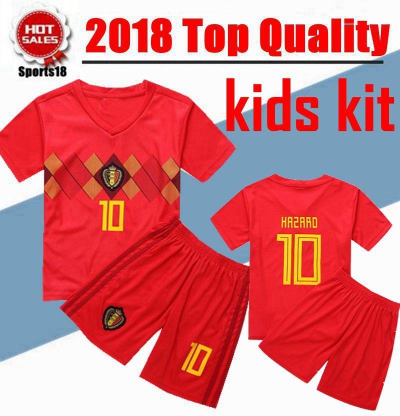 Compre Copa Do Mundo De 2018 Crianças Bélgica Set Jerseys Juventude Casa De  Futebol Vermelho Camisas Menino Kit Lukaku Fellaini E. Hazard Kompany De  Bruyne ... af74d437215cf