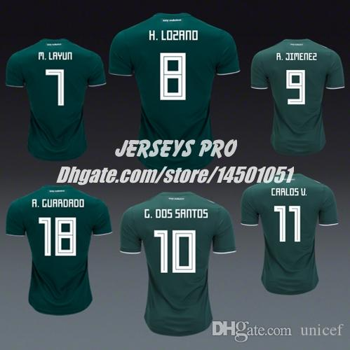 9a9f1f6eb32 2019 Camiseta De Mexico Copa Mundial 2018 World Cup Jerseys Home Shirt  Green Chicharito Hirving Lozano Carlos Vela Andres Guardado Jesus Corona  From Unicef