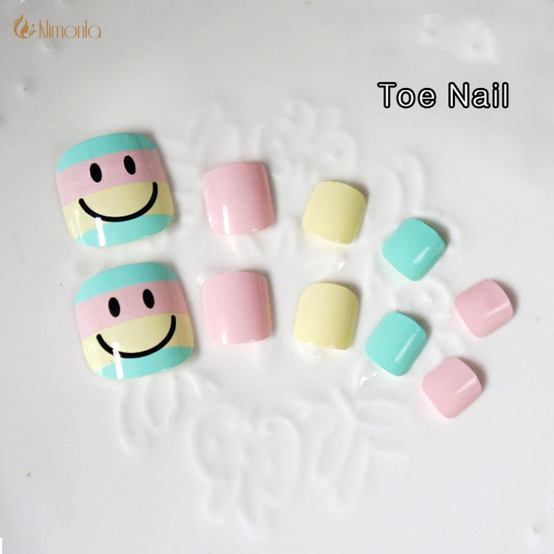 Acrylic Toe Fake Nail Art Tips Fashion Smile Diy Toenails Design