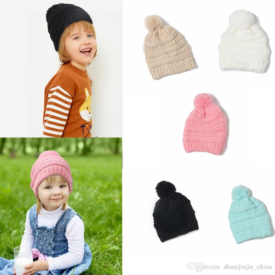 b42bc18a4177c1 Kids Beanie Knitted Pom Pom Hats Winter Woolen Cap Pompom Beanies ...