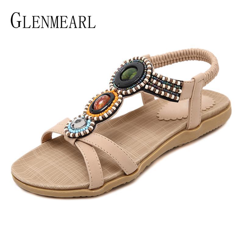 166d53537317f Fashion Summer Shoes Woman Flip Flops String Bead Women Flat Sandals Casual  Single Beach Shoes Large Size Ladies Sandals 2018 DE Jelly Sandals Platform  ...
