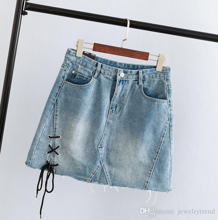 ddb12c4f5d63 2019 2018 Summer Women'S Plus Size Skirt Lady'S Denim Skirt Bandage A Line  Mini Causal Short Jeans Skirts 2XL 5XL C3514 From Jewelrytrend, $19.0 |  DHgate.